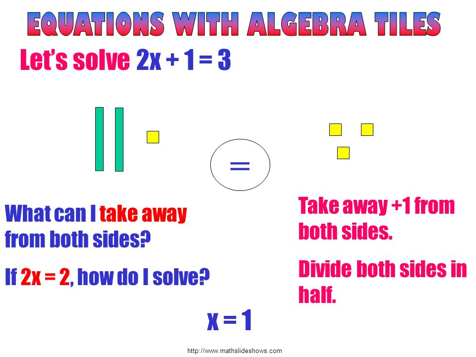 http://www.mathslideshows.com Lets solve 2x + 1 = 3 = What can I take away from both sides.