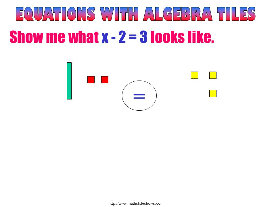 http://www.mathslideshows.com Show me what x - 2 = 3 looks like. =