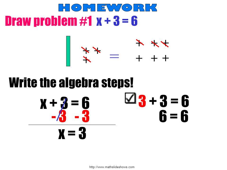 http://www.mathslideshows.com Draw problem #1 x + 3 = 6 + + + ++ + = + + + Write the algebra steps! x + 3 = 6 - 3 x = 3 3 + 3 = 6 6 = 6