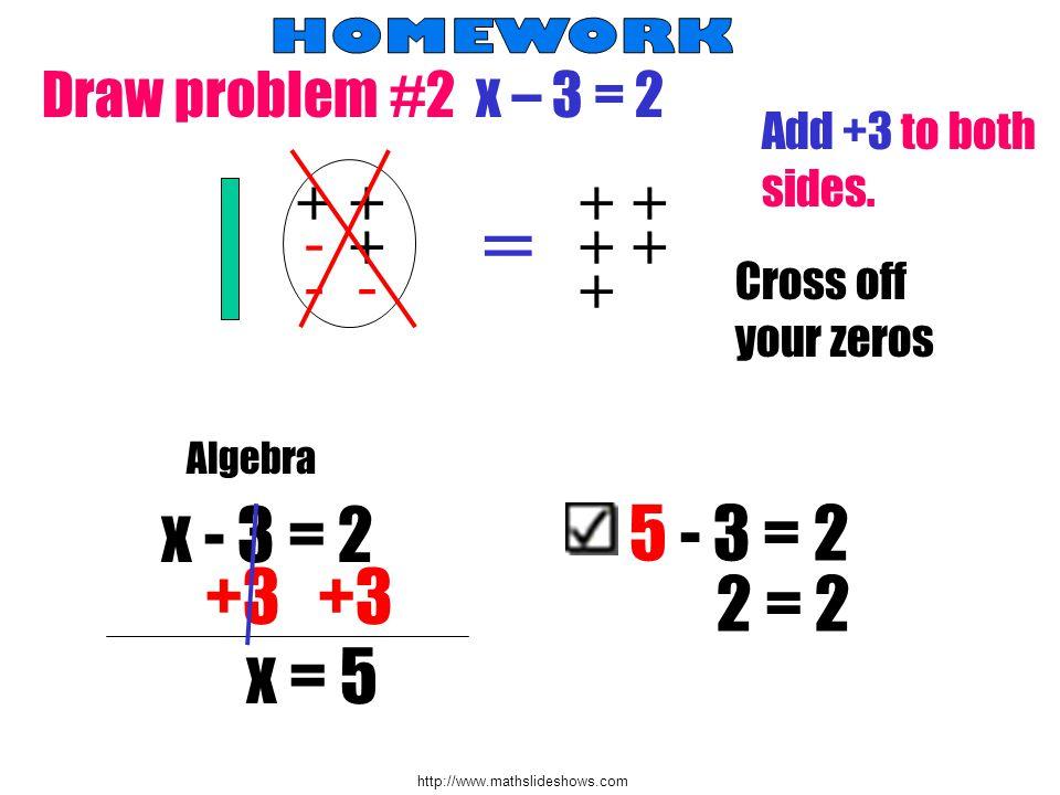 http://www.mathslideshows.com D raw problem #2 x – 3 = 2 - + - + = - Add +3 to both sides. ++ + ++ + Cross off your zeros Algebra x - 3 = 2 +3 x = 5 5
