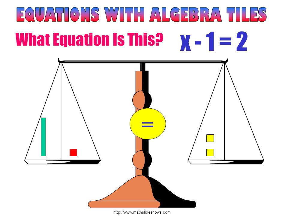http://www.mathslideshows.com = x - 1 = 2 What Equation Is This