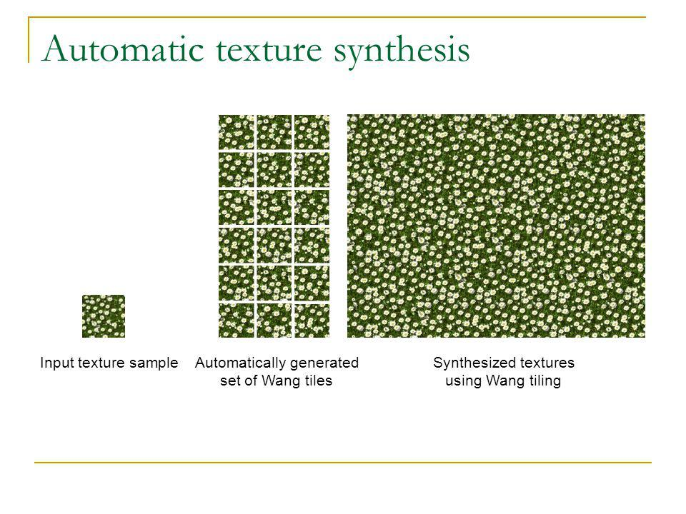 Automatic texture synthesis Input texture sampleAutomatically generated set of Wang tiles Synthesized textures using Wang tiling