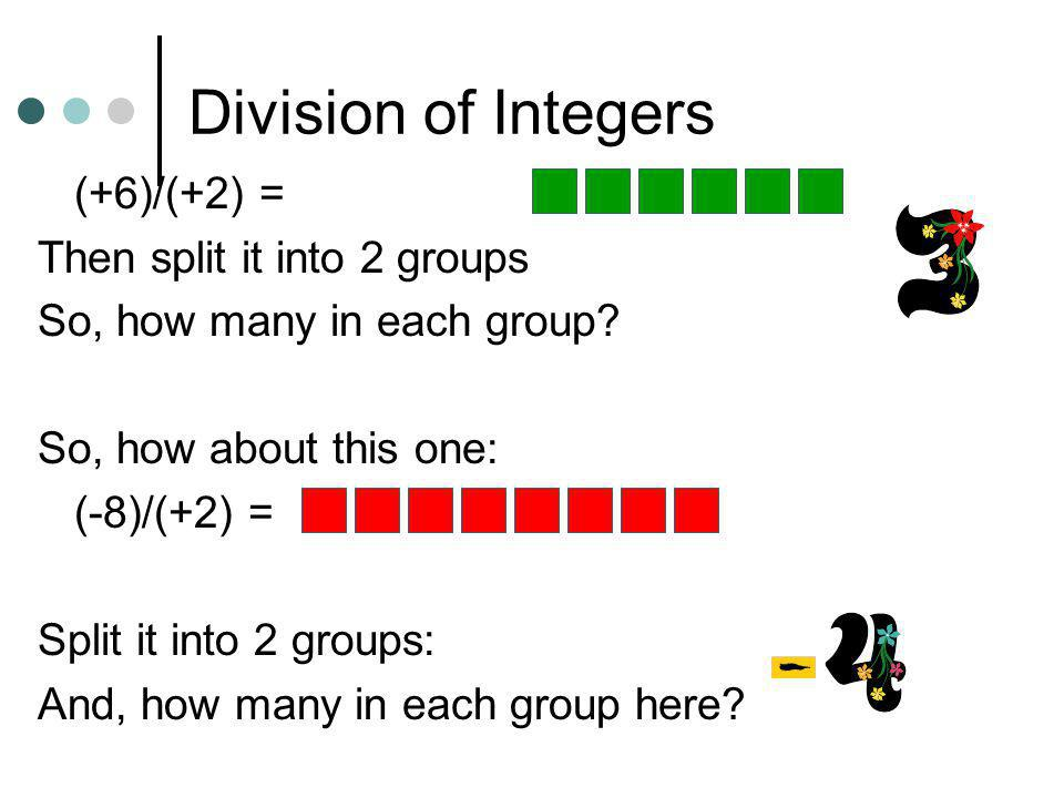 Division of Integers Like multiplication, division relies on the concept of a counter. Divisor serves as counter since it indicates the number of rows