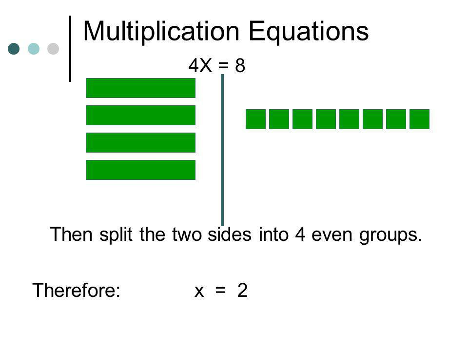 Multiplication Equations 2X = 6 Then split the two sides into 2 even groups. Therefore: x = 3 Now, try these:4x = 8 3x = 15