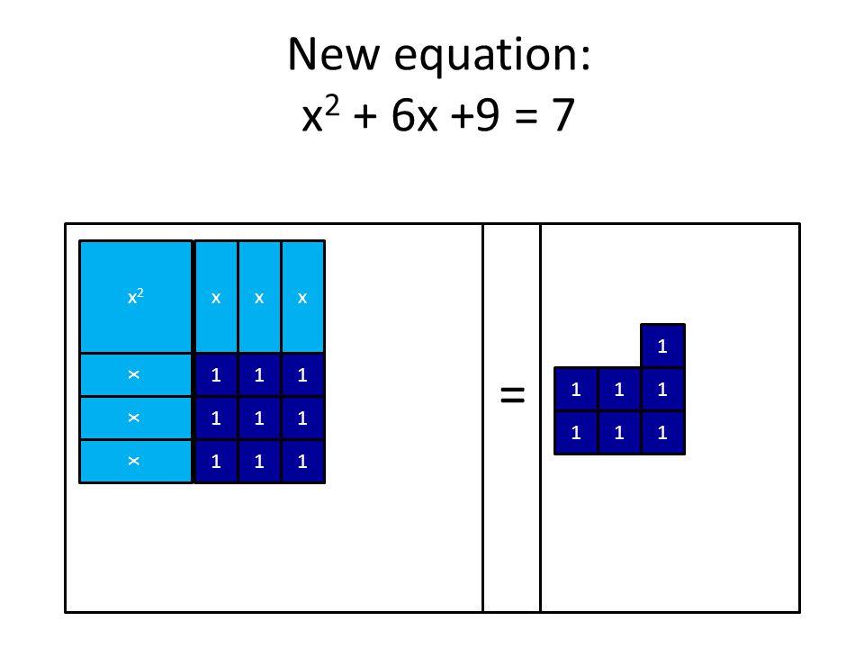 x2x2 = xxx x x x 111 111 111 1 111 111 New equation: x 2 + 6x +9 = 7