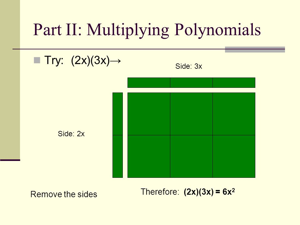 Part II: Multiplying Polynomials Try: (2x)(3x) Therefore: (2x)(3x) = 6x 2 Side: 3x Side: 2x Remove the sides