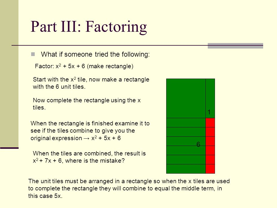 Part III: Factoring What if someone tried the following: Factor: x 2 + 5x + 6 (make rectangle) Start with the x 2 tile, now make a rectangle with the