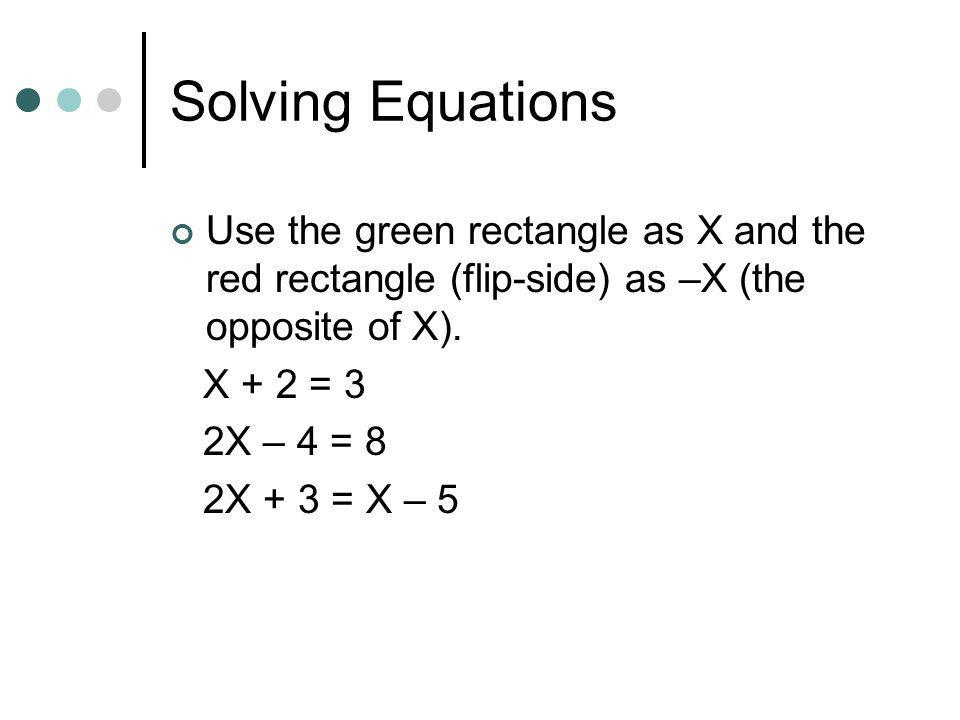 Solving Equations Use the green rectangle as X and the red rectangle (flip-side) as –X (the opposite of X). X + 2 = 3 2X – 4 = 8 2X + 3 = X – 5