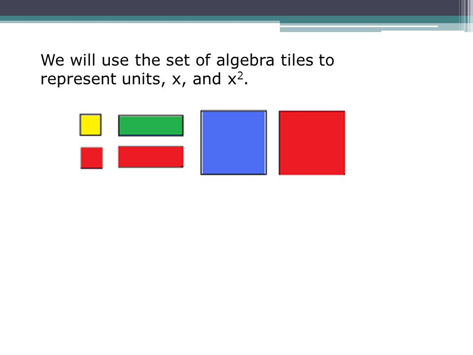 We will use the set of algebra tiles to represent units, x, and x 2.