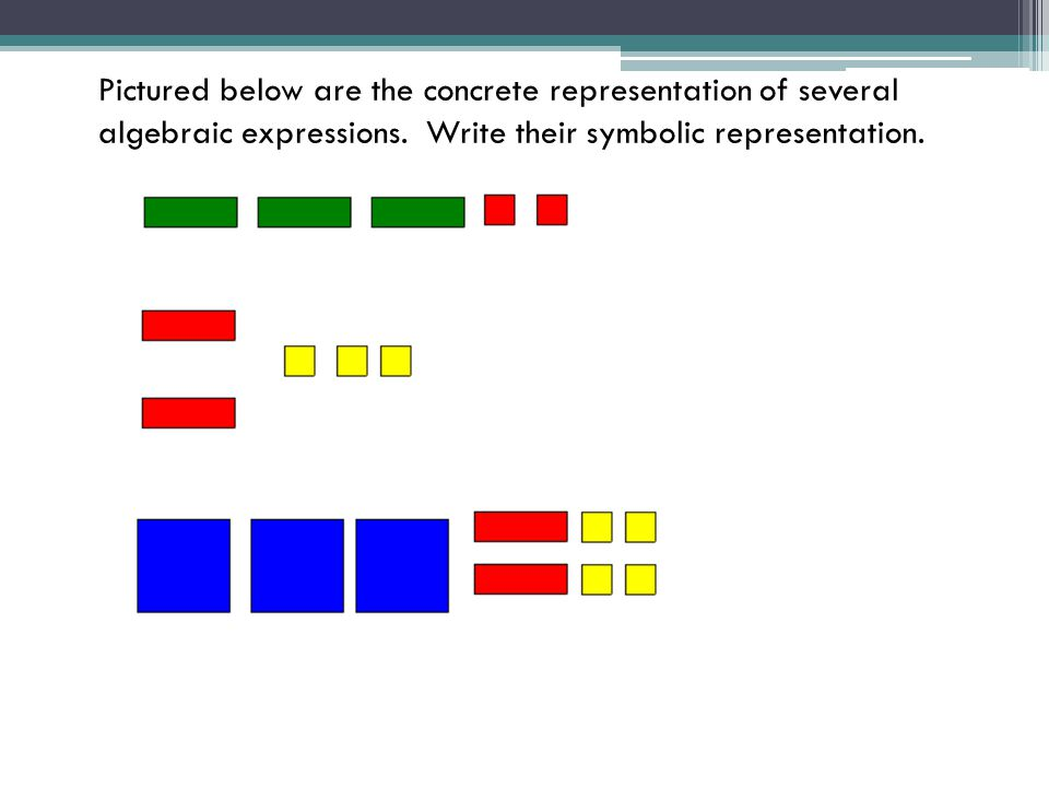 Pictured below are the concrete representation of several algebraic expressions. Write their symbolic representation.