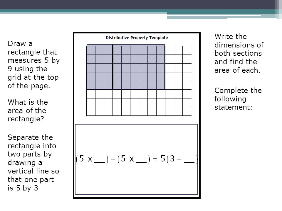 Draw a rectangle that measures 5 by 9 using the grid at the top of the page. What is the area of the rectangle? Separate the rectangle into two parts