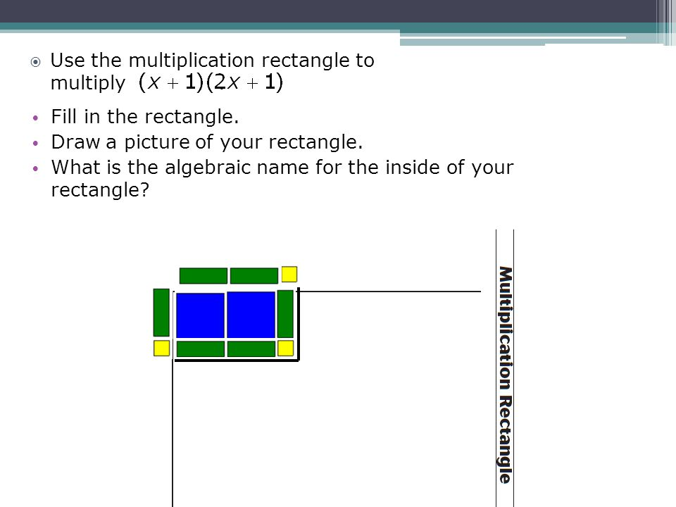 Fill in the rectangle. Draw a picture of your rectangle. What is the algebraic name for the inside of your rectangle? Use the multiplication rectangle