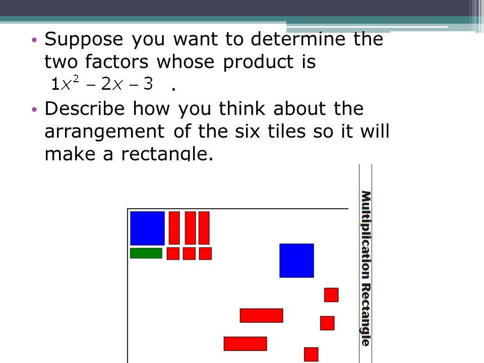 Suppose you want to determine the two factors whose product is. Describe how you think about the arrangement of the six tiles so it will make a rectan