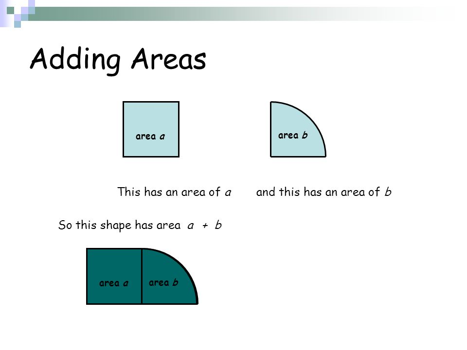 So this shape has area area b area a Adding Areas area b area a This has an area of a a+ b and this has an area of b