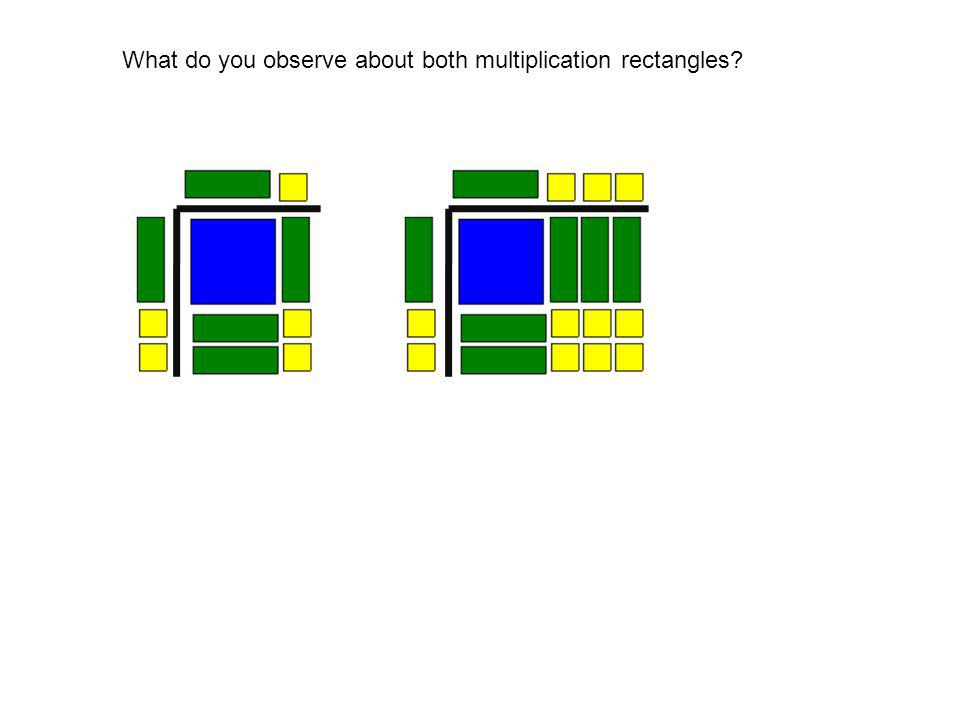 What do you observe about both multiplication rectangles