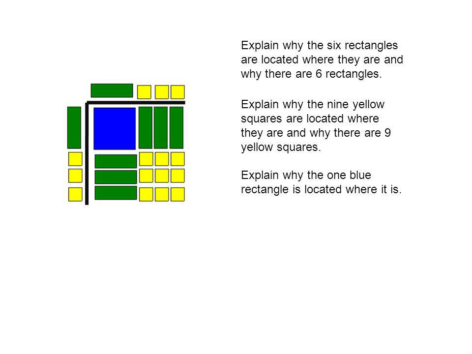 Explain why the six rectangles are located where they are and why there are 6 rectangles.