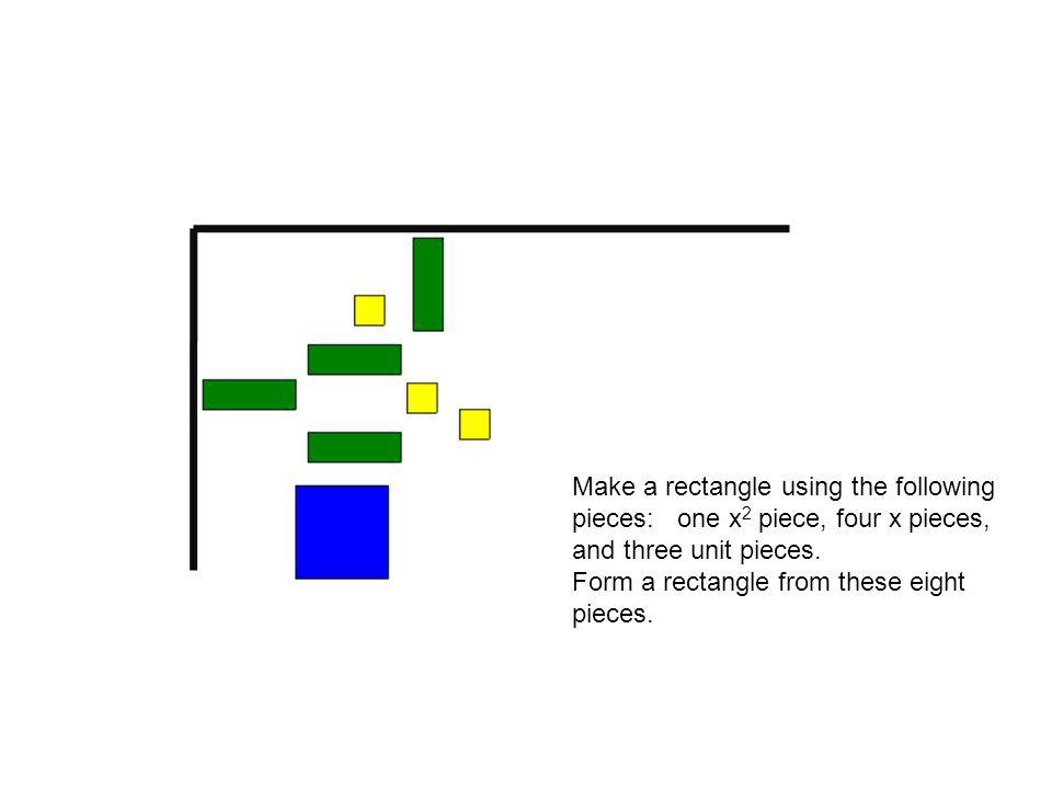 Make a rectangle using the following pieces: one x 2 piece, four x pieces, and three unit pieces.