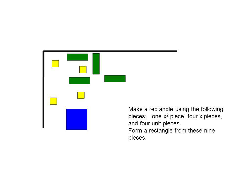 Make a rectangle using the following pieces: one x 2 piece, four x pieces, and four unit pieces.