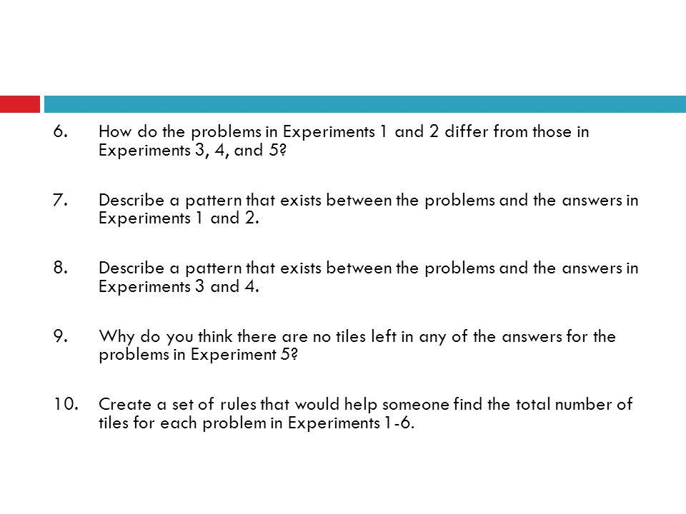 6.How do the problems in Experiments 1 and 2 differ from those in Experiments 3, 4, and 5.