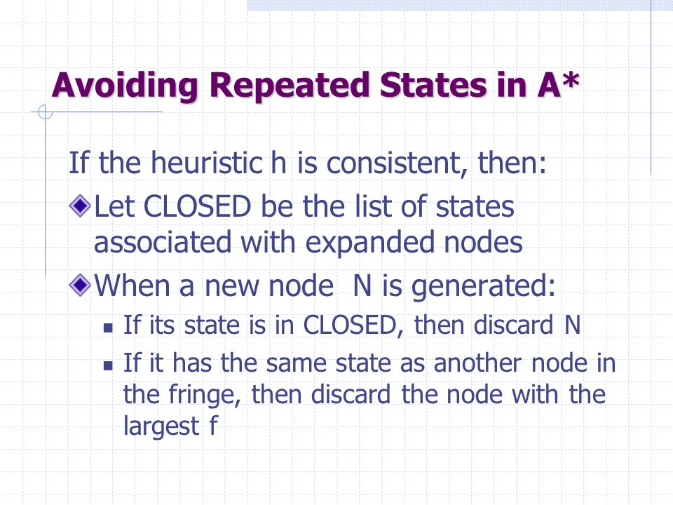 Avoiding Repeated States in A* If the heuristic h is consistent, then: Let CLOSED be the list of states associated with expanded nodes When a new node