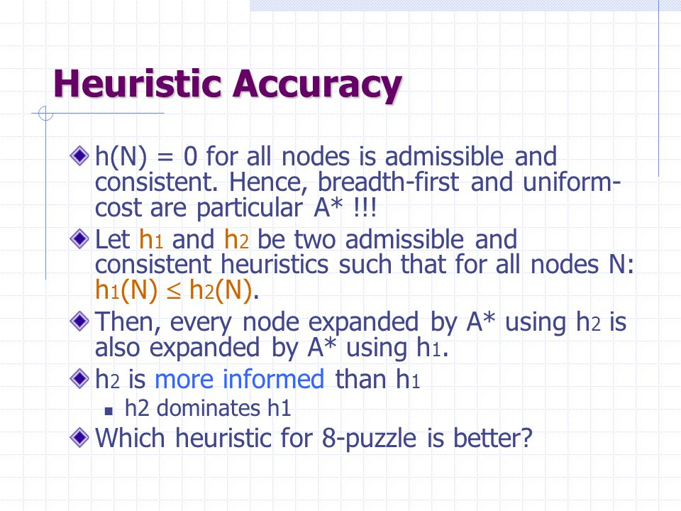 Heuristic Accuracy h(N) = 0 for all nodes is admissible and consistent. Hence, breadth-first and uniform- cost are particular A* !!! Let h 1 and h 2 b