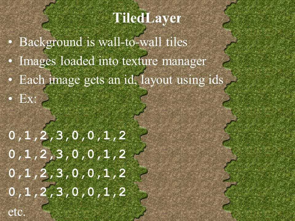 TiledLayer Background is wall-to-wall tiles Images loaded into texture manager Each image gets an id, layout using ids Ex: 0,1,2,3,0,0,1,2 etc.