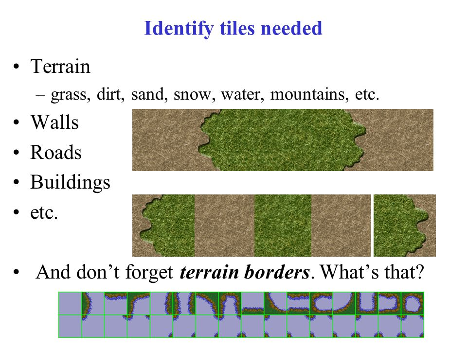 Identify tiles needed Terrain –grass, dirt, sand, snow, water, mountains, etc.
