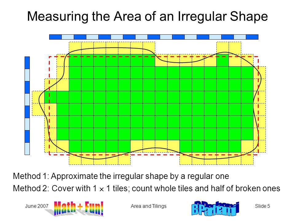 June 2007Area and TilingsSlide 5 Method 1: Approximate the irregular shape by a regular one Measuring the Area of an Irregular Shape Method 2: Cover w