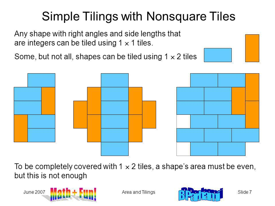 June 2007Area and TilingsSlide 7 Any shape with right angles and side lengths that are integers can be tiled using 1 1 tiles.