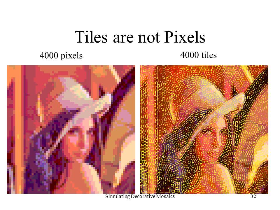 Simulating Decorative Mosaics32 Tiles are not Pixels 4000 pixels 4000 tiles