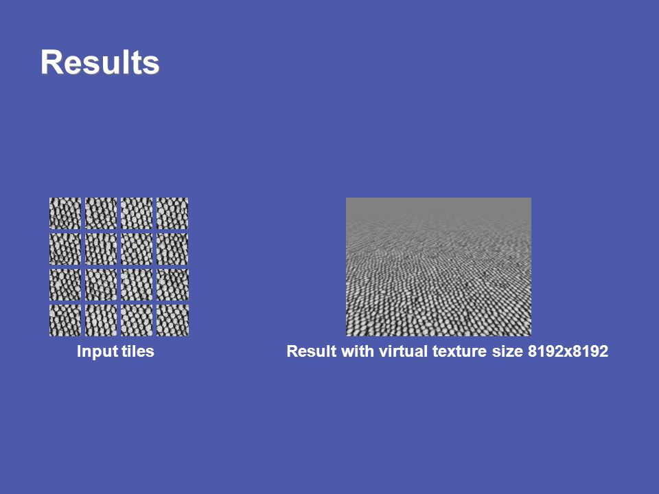 Results Input tiles Result with virtual texture size 8192x8192