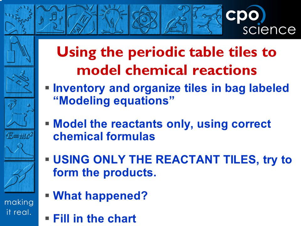 Using the periodic table tiles to model chemical reactions Inventory and organize tiles in bag labeled Modeling equations Model the reactants only, using correct chemical formulas USING ONLY THE REACTANT TILES, try to form the products.