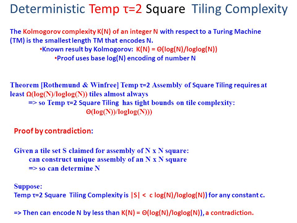 Deterministic Temp τ=2 Square Tiling Complexity The Kolmogorov complexity K(N) of an integer N with respect to a Turing Machine (TM) is the smallest length TM that encodes N.