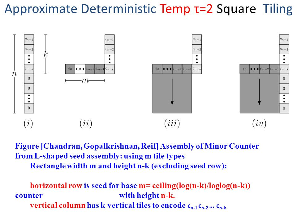 Approximate Deterministic Temp τ=2 Square Tiling Figure [Chandran, Gopalkrishnan, Reif] Assembly of Minor Counter from L-shaped seed assembly: using m tile types Rectangle width m and height n-k (excluding seed row): horizontal row is seed for base m= ceiling(log(n-k)/loglog(n-k)) counter with height n-k.