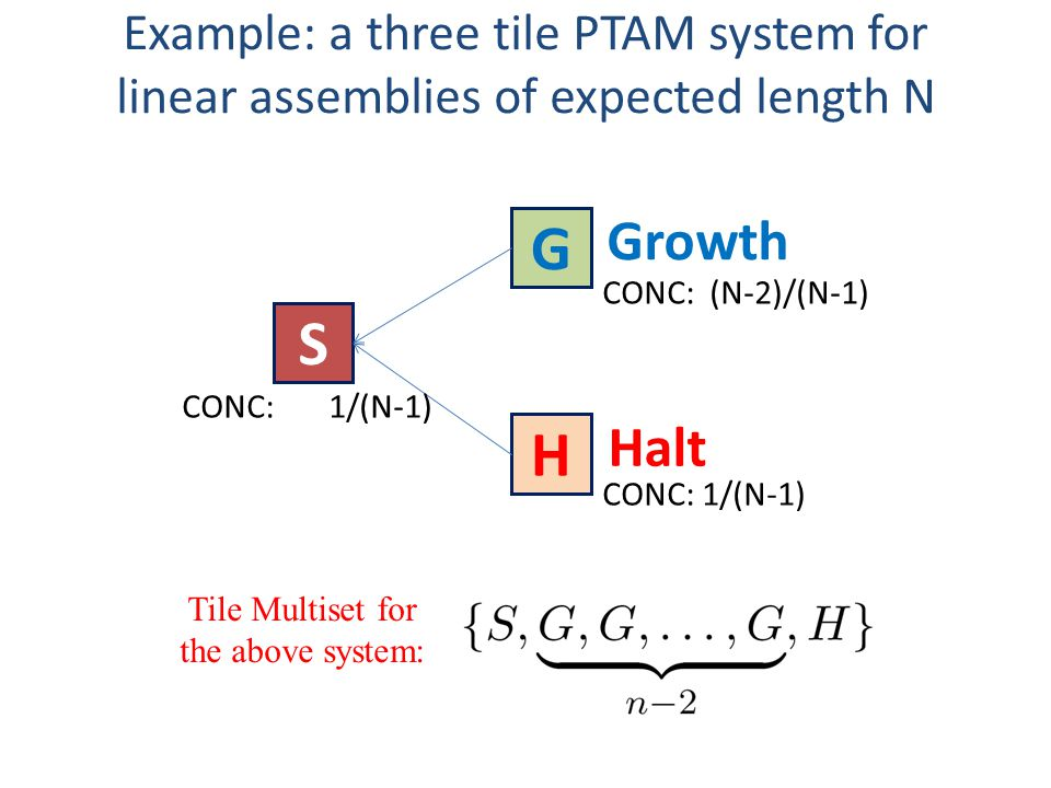 Example: a three tile PTAM system for linear assemblies of expected length N Tile Multiset for the above system: CONC: 1/(N-1) G S H Growth Halt CONC: