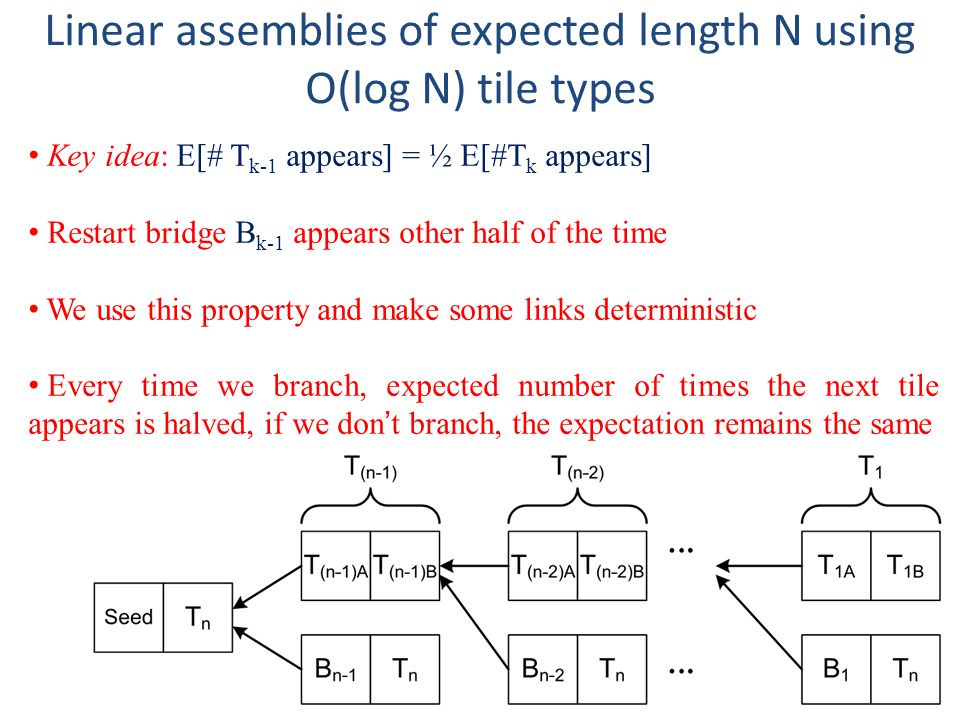 Linear assemblies of expected length N using O(log N) tile types Key idea: E[# T k-1 appears] = ½ E[#T k appears] Restart bridge B k-1 appears other half of the time We use this property and make some links deterministic Every time we branch, expected number of times the next tile appears is halved, if we dont branch, the expectation remains the same