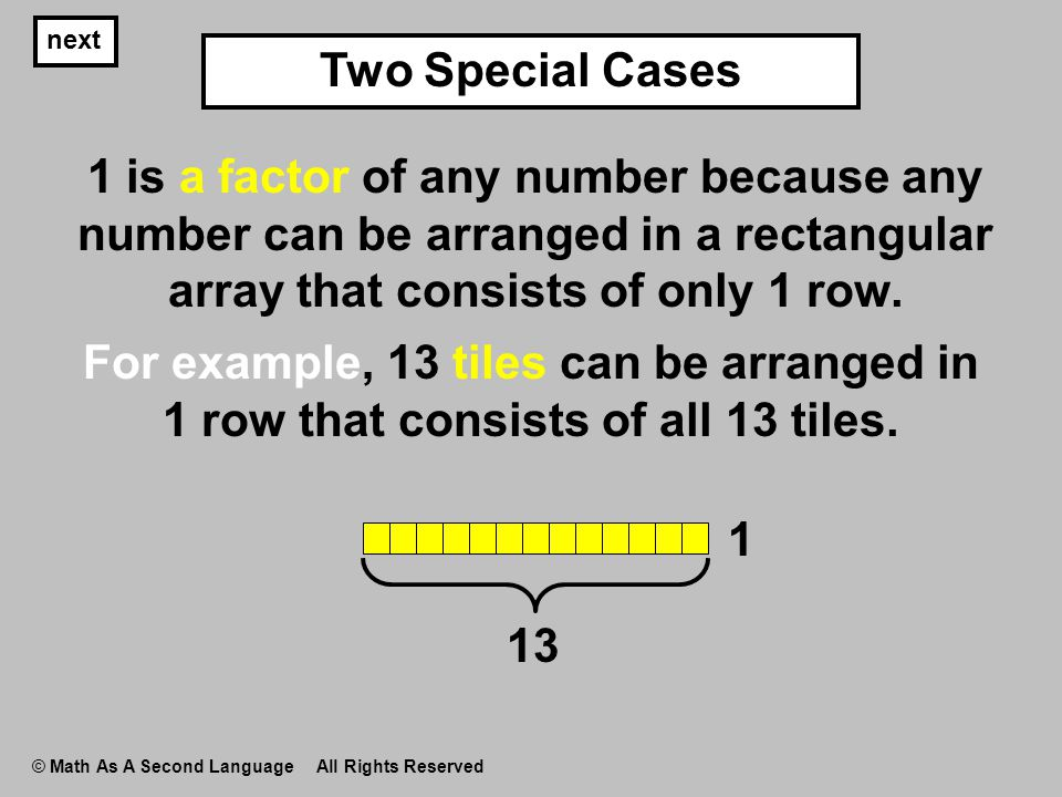 next © Math As A Second Language All Rights Reserved 1 is a factor of any number because any number can be arranged in a rectangular array that consis