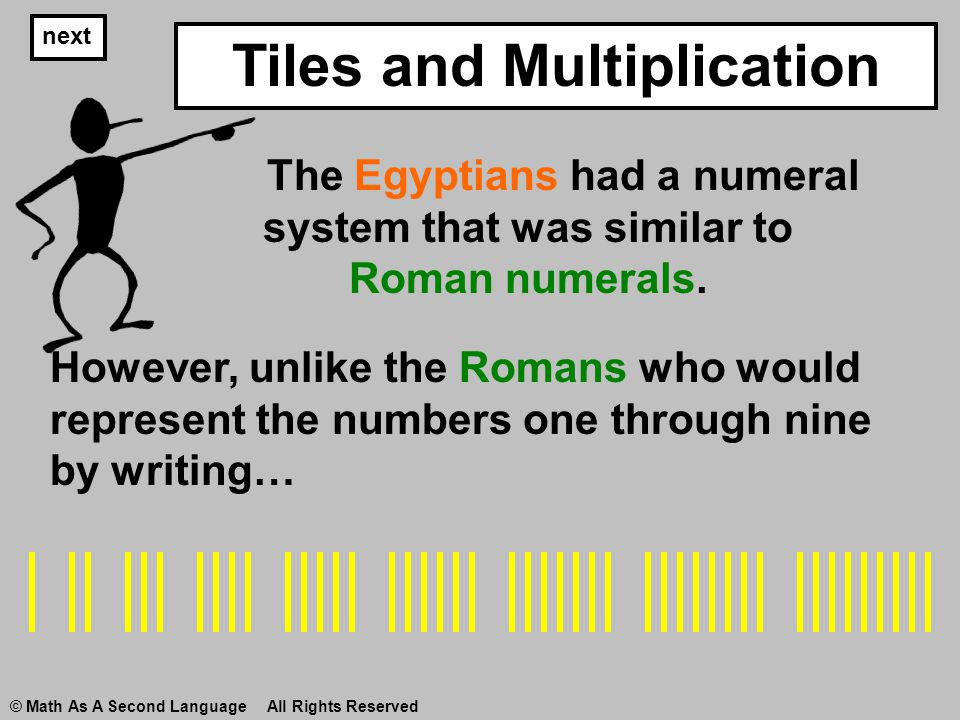 next However, unlike the Romans who would represent the numbers one through nine by writing… © Math As A Second Language All Rights Reserved The Egypt
