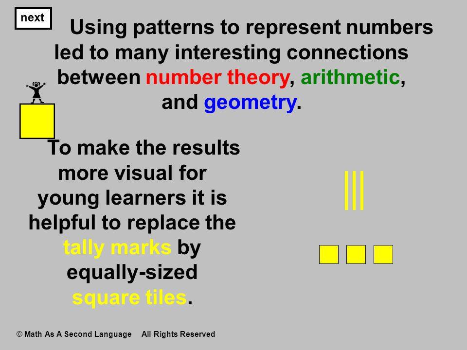next © Math As A Second Language All Rights Reserved Using patterns to represent numbers led to many interesting connections between number theory, ar