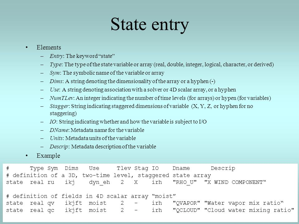 State entry Elements –Entry: The keyword state –Type: The type of the state variable or array (real, double, integer, logical, character, or derived)