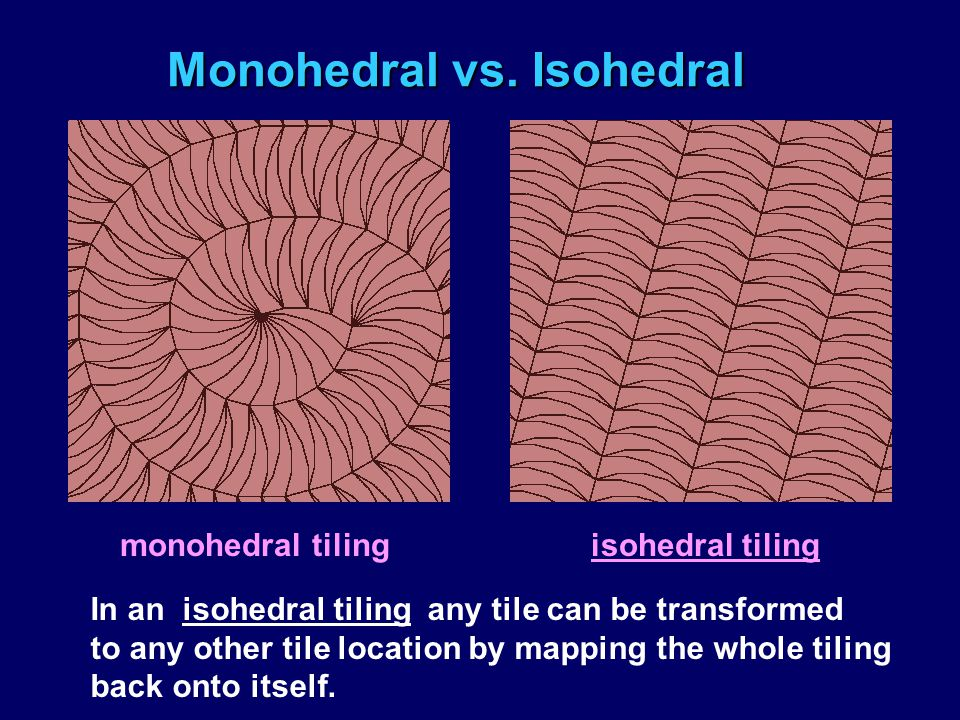Monohedral vs. Isohedral monohedral tiling isohedral tiling In an isohedral tiling any tile can be transformed to any other tile location by mapping t