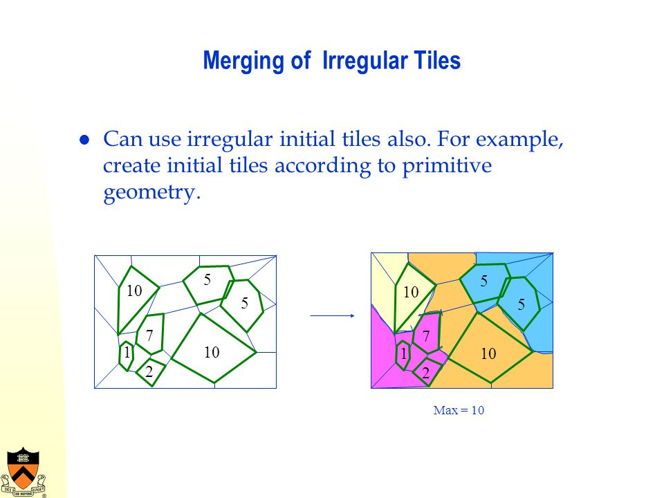 Merging of Irregular Tiles Can use irregular initial tiles also. For example, create initial tiles according to primitive geometry. 10 1 2 7 5 5 1 2 7