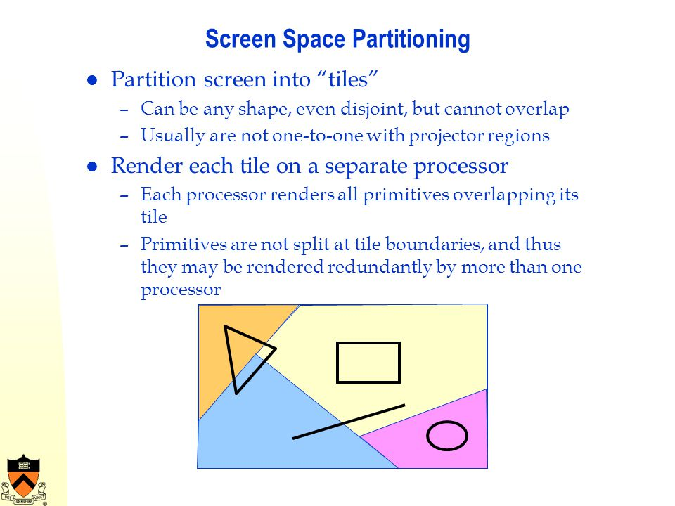 Screen Space Partitioning Partition screen into tiles –Can be any shape, even disjoint, but cannot overlap –Usually are not one-to-one with projector