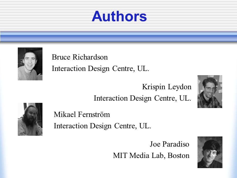 Authors Bruce Richardson Interaction Design Centre, UL.