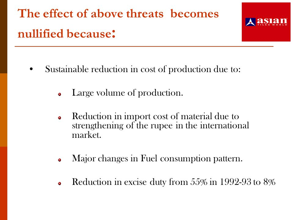 The effect of above threats becomes nullified because : Sustainable reduction in cost of production due to: Large volume of production. Reduction in i