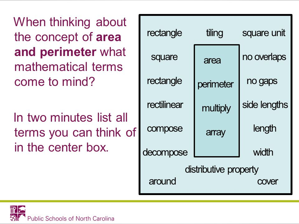 When thinking about the concept of area and perimeter what mathematical terms come to mind.