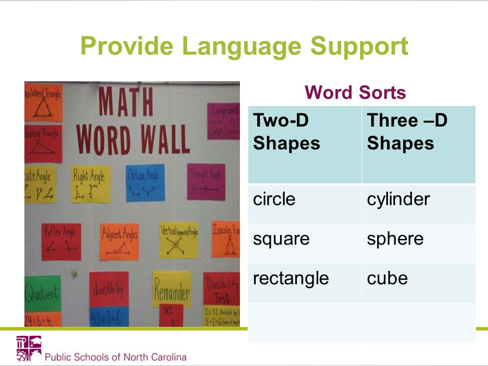 Provide Language Support Word Sorts Two-D Shapes Three –D Shapes circlecylinder squaresphere rectanglecube