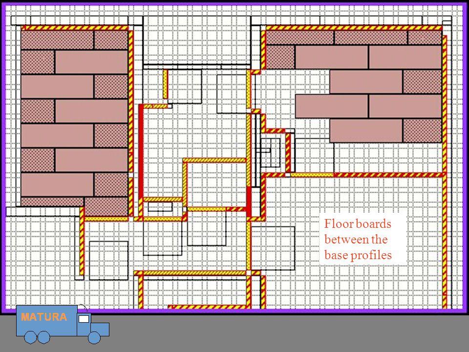 Floor boards Floor boards between the base profiles