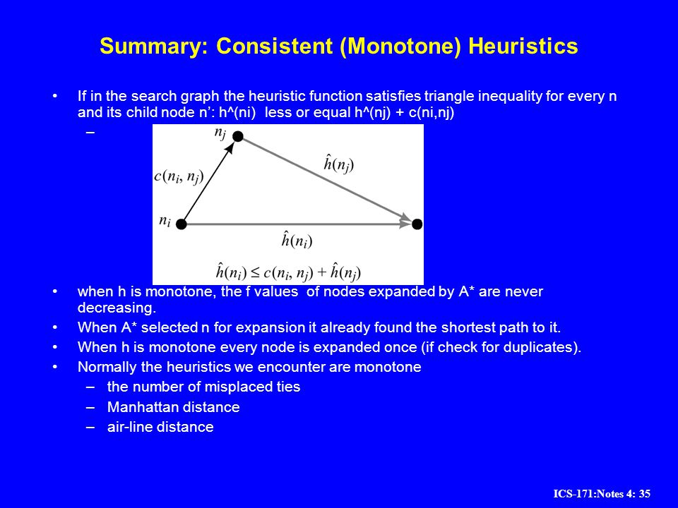 ICS-171:Notes 4: 35 Summary: Consistent (Monotone) Heuristics If in the search graph the heuristic function satisfies triangle inequality for every n
