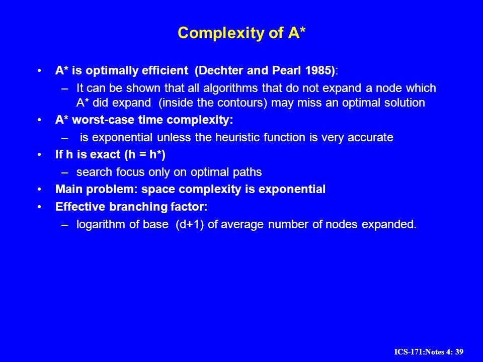 ICS-171:Notes 4: 39 Complexity of A* A* is optimally efficient (Dechter and Pearl 1985): –It can be shown that all algorithms that do not expand a nod
